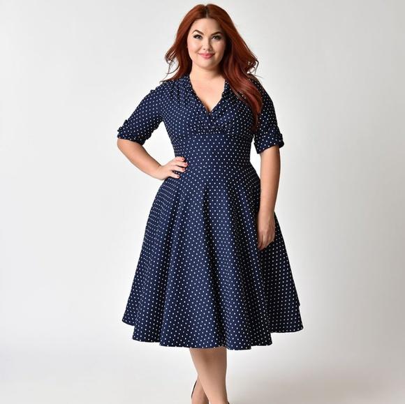 6342a14296c5 Unique Vintage Dresses | Navy White Dot Delores Swing Dress | Poshmark
